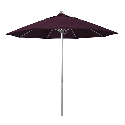 9 Foot Umbrella Fiberglass Market Pulley Open Anodized/Pacifica/Purple