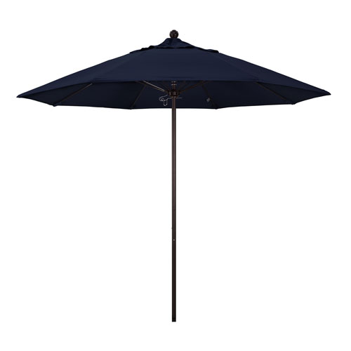 California Umbrella 9 Foot Umbrella Fiberglass Market Pulley Open Bronze/Sunbrella/Navy