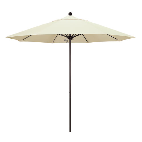 9 Foot Umbrella Fiberglass Market Pulley Open Bronze/Sunbrella/Canvas