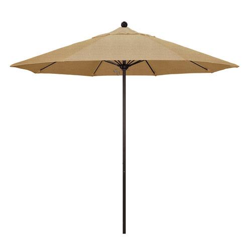 California Umbrella 9 Foot Umbrella Fiberglass Market Pulley Open Bronze/Sunbrella/Ses Linen