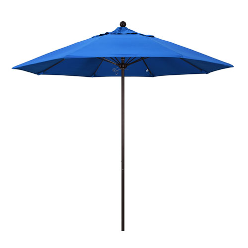 9 Foot Umbrella Fiberglass Market Pulley Open Bronze/Olefin/Pacific Blue
