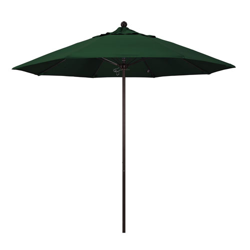 9 Foot Umbrella Fiberglass Market Pulley Open Bronze/Pacifica/Hunter Green