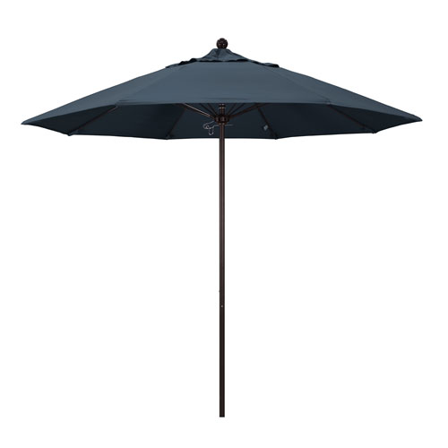 California Umbrella 9 Foot Umbrella Fiberglass Market Pulley Open Bronze/Pacifica/Sapphire
