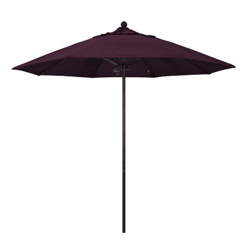 9 Foot Umbrella Fiberglass Market Pulley Open Bronze/Pacifica/Purple
