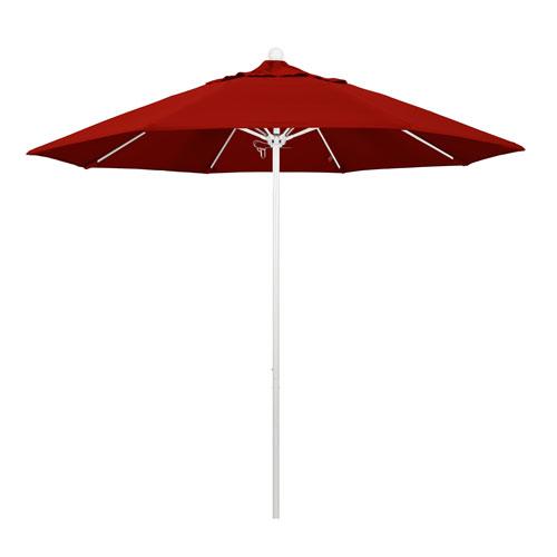 California Umbrella 9 Foot Umbrella Fiberglass Market Pulley Open Matte White/Sunbrella/Jockey Red