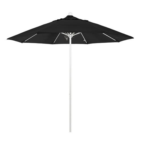 California Umbrella 9 Foot Umbrella Fiberglass Market Pulley Open Matte White/Sunbrella/Black