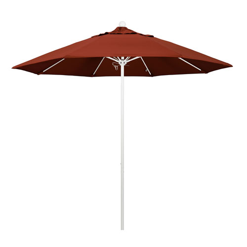 California Umbrella 9 Foot Umbrella Fiberglass Market Pulley Open Matte White/Sunbrella/Terracotta