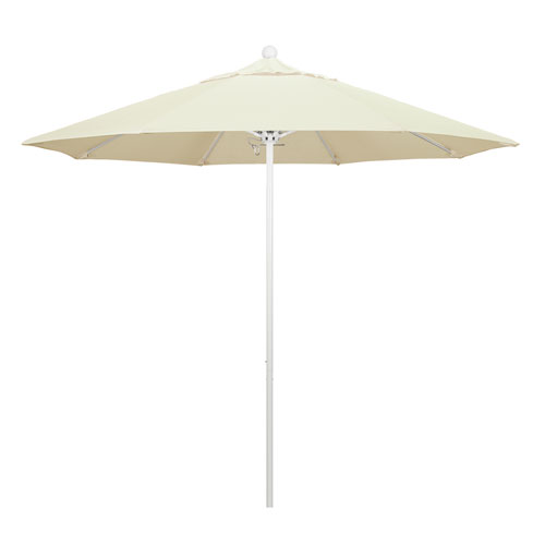 California Umbrella 9 Foot Umbrella Fiberglass Market Pulley Open Matte White/Sunbrella/Canvas