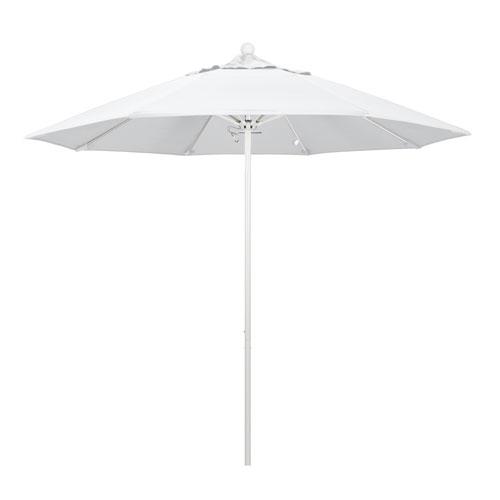 9 Foot Umbrella Fiberglass Market Pulley Open Matte White/Olefin/White