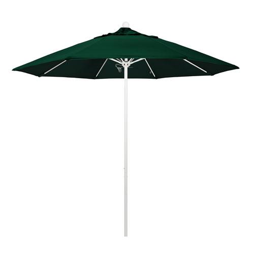 California Umbrella 9 Foot Umbrella Fiberglass Market Pulley Open Matte White/Olefin/Hunter Green