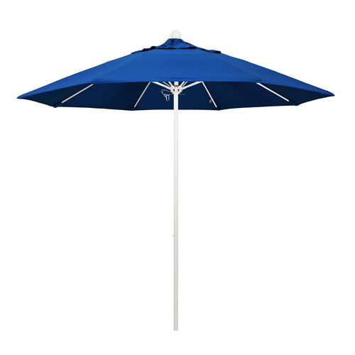 California Umbrella 9 Foot Umbrella Fiberglass Market Pulley Open Matted White/Pacifica/Pacific Blue