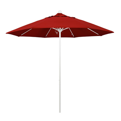 California Umbrella 9 Foot Umbrella Fiberglass Market Pulley Open Matted White/Pacifica/Red