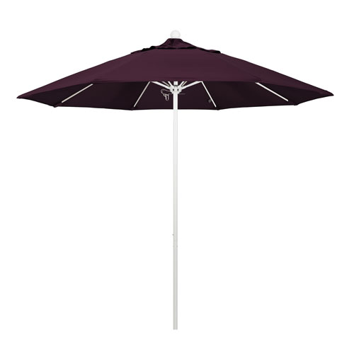 California Umbrella 9 Foot Umbrella Fiberglass Market Pulley Open Matted White/Pacifica/Purple