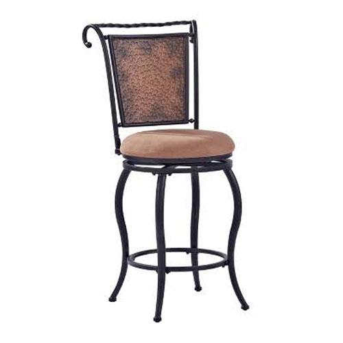 Wingate Swivel Bar Stool in Black Gold With Tan Cushion