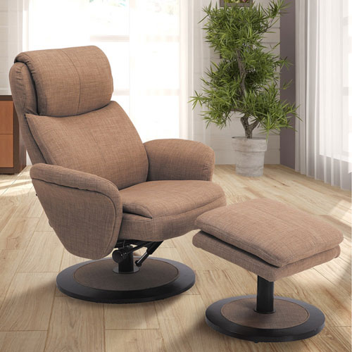 Mac Motion Chairs Comfort Chair Taupe Fabric Swivel, Recliner With Ottoman