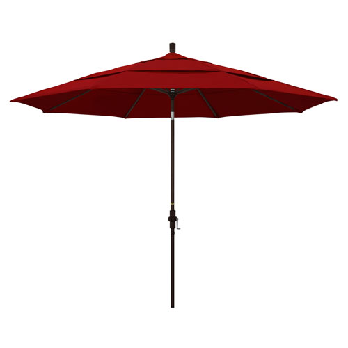 11 Foot Umbrella Aluminum Market Collar Tilt Double Vent Bronze/Sunbrella/Jockey Red