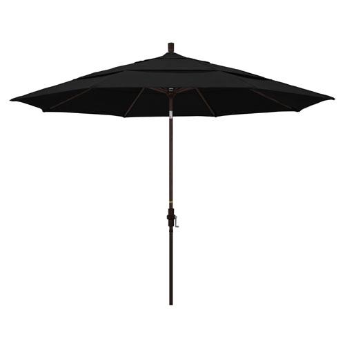 11 Foot Umbrella Aluminum Market Collar Tilt Double Vent Bronze/Sunbrella/Black