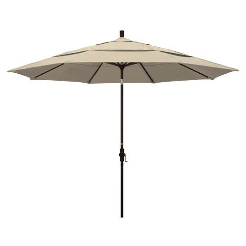 California Umbrella 11 Foot Umbrella Aluminum Market Collar Tilt Double Vent Bronze/Sunbrella/Antique Beige