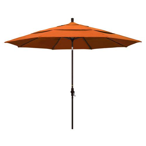 California Umbrella 11 Foot Umbrella Aluminum Market Collar Tilt Double Vent Bronze/Pacifica/Tuscan