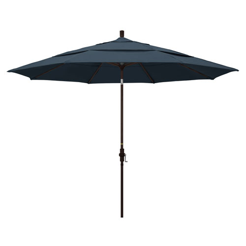 California Umbrella 11 Foot Umbrella Aluminum Market Collar Tilt Double Vent Bronze/Pacifica/Sapphire