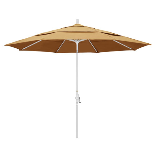 California Umbrella 11 Foot Umbrella Aluminum Market Collar Tilt Double Vent Matted White/Sunbrella/Wheat
