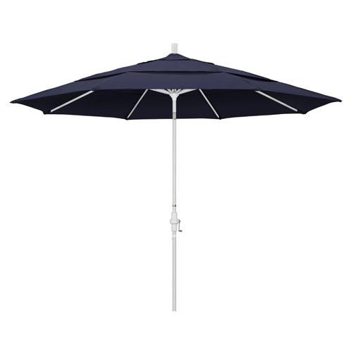 11 Foot Umbrella Aluminum Market Collar Tilt Double Vent Matted White/Sunbrella/Navy