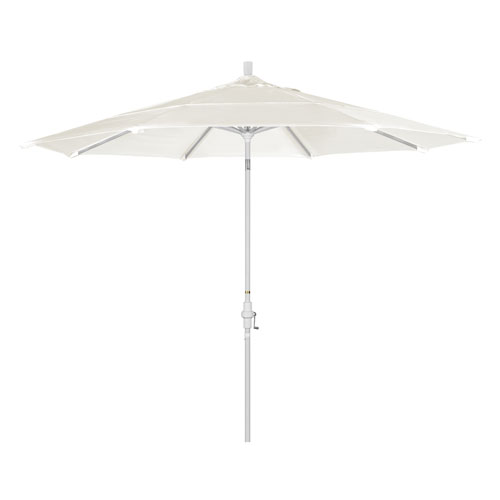 California Umbrella 11 Foot Umbrella Aluminum Market Collar Tilt Double Vent Matted White/Sunbrella/Canvas