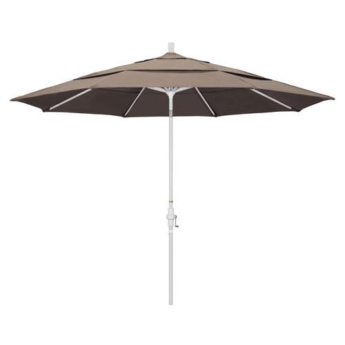 11 Foot Aluminum Market Umbrella Collar Tilt Double Vent Matted White/Sunbrella/Taupe