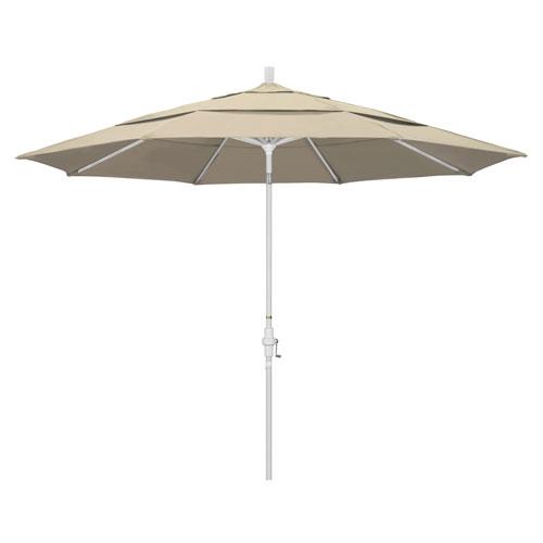 11 Foot Umbrella Aluminum Market Collar Tilt Double Vent Matted White/Pacifica/Beige