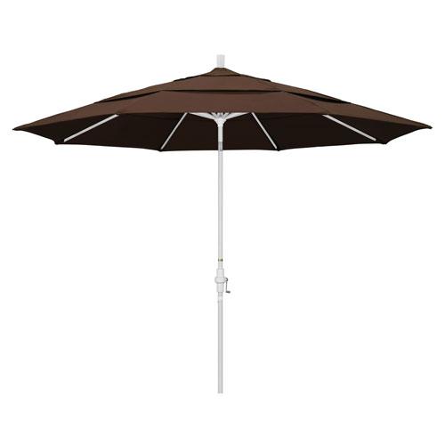 California Umbrella 11 Foot Umbrella Aluminum Market Collar Tilt Double Vent Matted White/Pacifica/Mocha