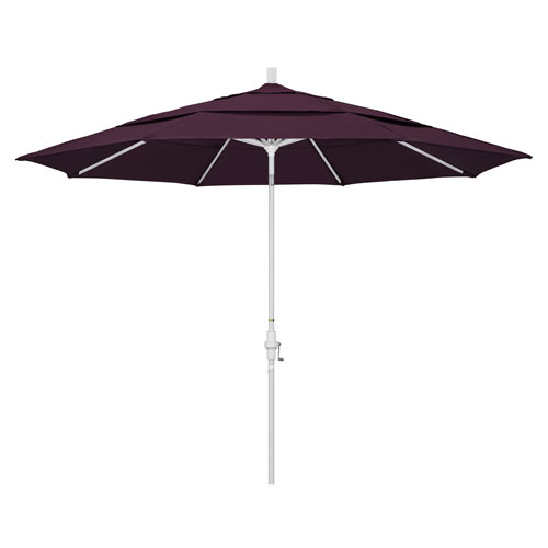 11 Foot Umbrella Aluminum Market Collar Tilt Double Vent Matted White/Pacifica/Purple