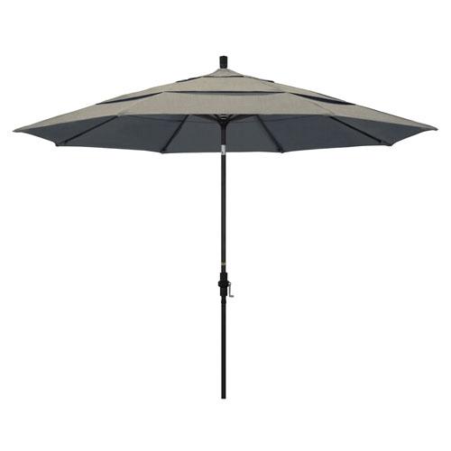 11 Foot Aluminum Market Umbrella Collar Tilt Double Vent Matted Black/Sunbrella/Spectrum Dove