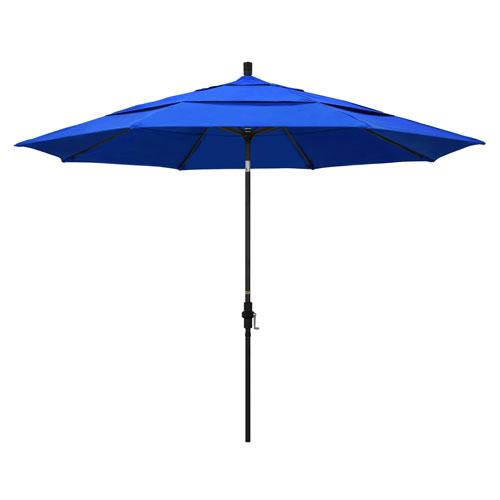 11 Foot Umbrella Aluminum Market Collar Tilt Double Vent Matted Black/Sunbrella/Pac Blue