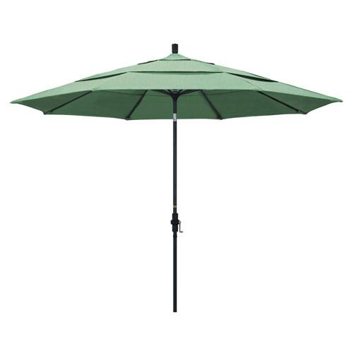 California Umbrella 11 Foot Umbrella Aluminum Market Collar Tilt Double Vent Matted Black/Pacifica/Spa
