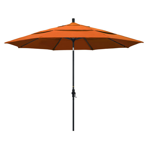 California Umbrella 11 Foot Umbrella Aluminum Market Collar Tilt Double Vent Matted Black/Pacifica/Tuscan