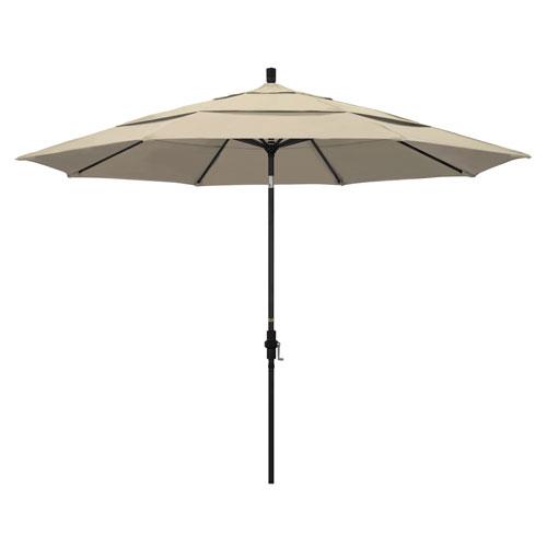 11 Foot Umbrella Aluminum Market Collar Tilt Double Vent Matted Black/Pacifica/Beige