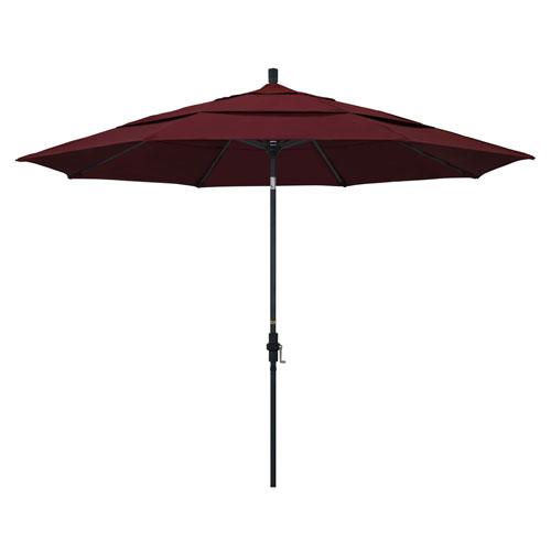 California Umbrella 11 Foot Umbrella Aluminum Market Collar Tilt Double Vent Matted Black/Pacifica/Burgandy