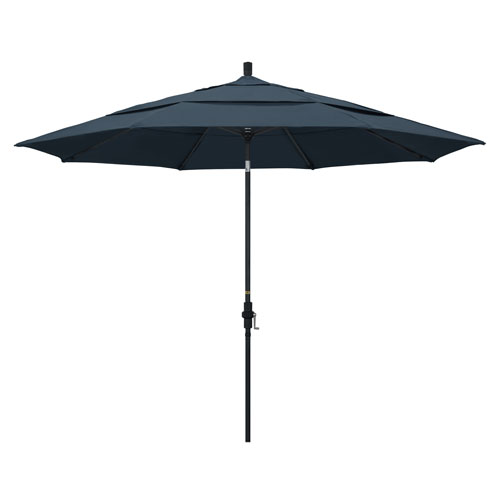 11 Foot Umbrella Aluminum Market Collar Tilt Double Vent Matted Black/Pacifica/Sapphire