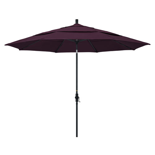 California Umbrella 11 Foot Umbrella Aluminum Market Collar Tilt Double Vent Matted Black/Pacifica/Purple