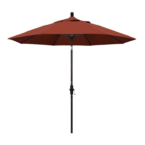 California Umbrella 9 Foot Umbrella Aluminum Market Collar Tilt - Bronze/Sunbrella/Terracotta