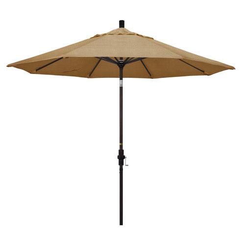 California Umbrella 9 Foot Umbrella Aluminum Market Collar Tilt - Bronze/Sunbrella/Sesame Linen