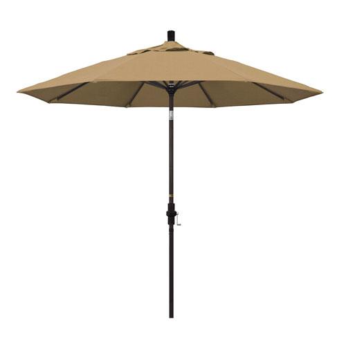 California Umbrella 9 Foot Umbrella Aluminum Market Collar Tilt - Bronze/Olefin/Straw