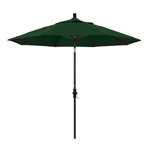 California Umbrella 9 Foot Umbrella Aluminum Market Collar Tilt - Bronze/Pacifica/Hunter Green