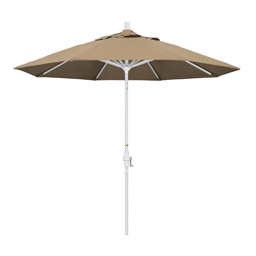 California Umbrella 9 Foot Umbrella Aluminum Market Collar Tilt - Matted White/Sunbrella/Heather Beige