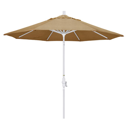 California Umbrella 9 Foot Umbrella Aluminum Market Collar Tilt - Matted White/Sunbrella/Sesame Linen