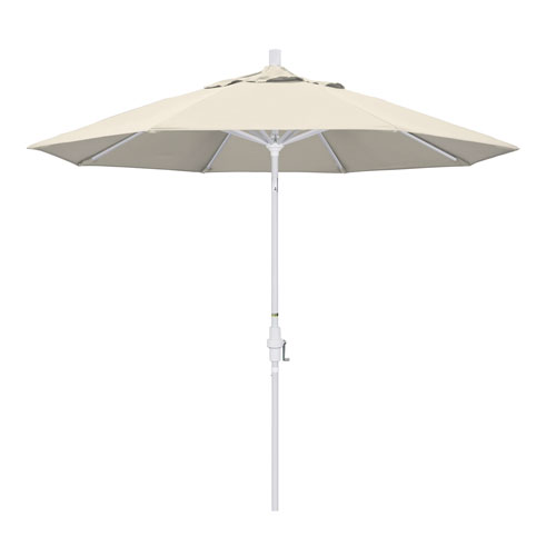 California Umbrella 9 Foot Umbrella Aluminum Market Collar Tilt - Matted White/Olefin/Antique Beige