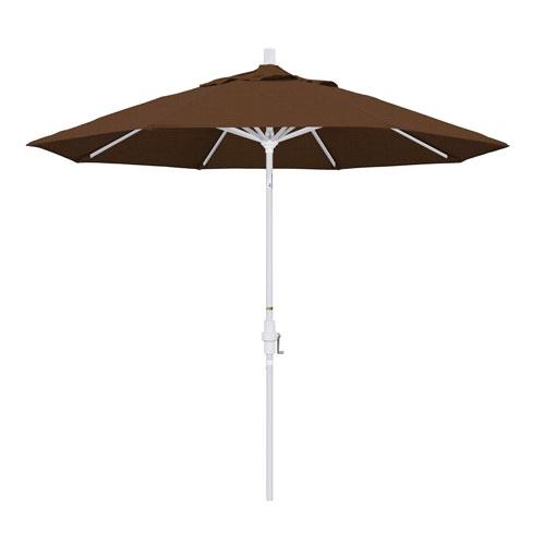 9 Foot Umbrella Aluminum Market Collar Tilt - Matted White/Olefin/Teak