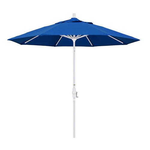 California Umbrella 9 Foot Umbrella Aluminum Market Collar Tilt - Matted White/Pacifica/Pacific Blue