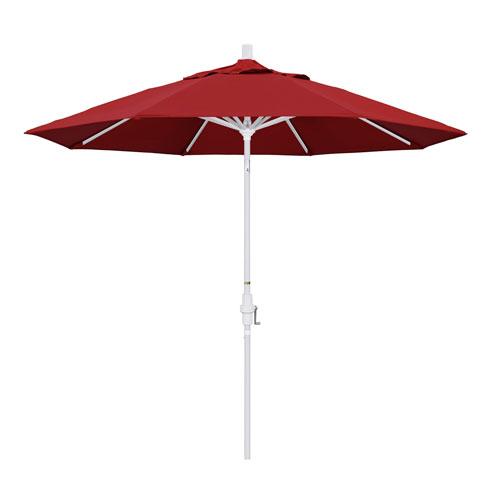California Umbrella 9 Foot Umbrella Aluminum Market Collar Tilt - Matted White/Pacifica/Red