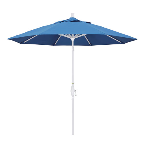 California Umbrella 9 Foot Umbrella Aluminum Market Collar Tilt - Matted White/Pacifica/Capri